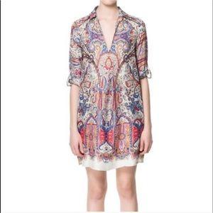 Zara Basic Patterned Multicolor Pocketed T…